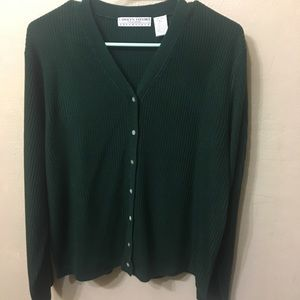 Carolyn Taylor Essentials Hunter Green Cardigan